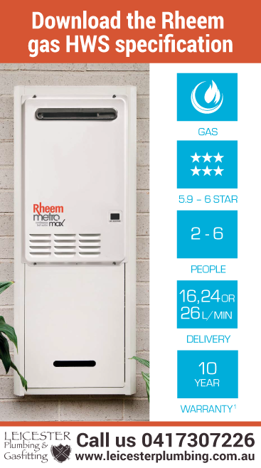 Download the specification for the Metro Rheem 26L gas hotwater system