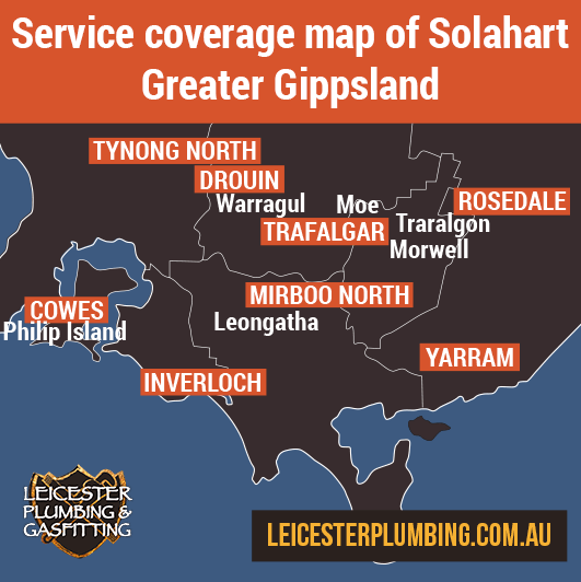 Service coverage map of Solahart Greater Gippsland is central and south Gippsland